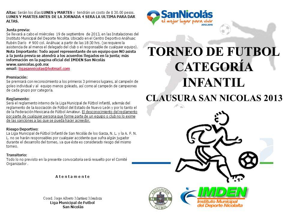 CLAUSURA SAN NICOLAS 2013 Altas: Serán los días LUNES y MARTES y tendrán un costo de $ 30.00 pesos. LUNES Y MARTES ANTES DE LA JORNADA 4 SERA LA ULTIM