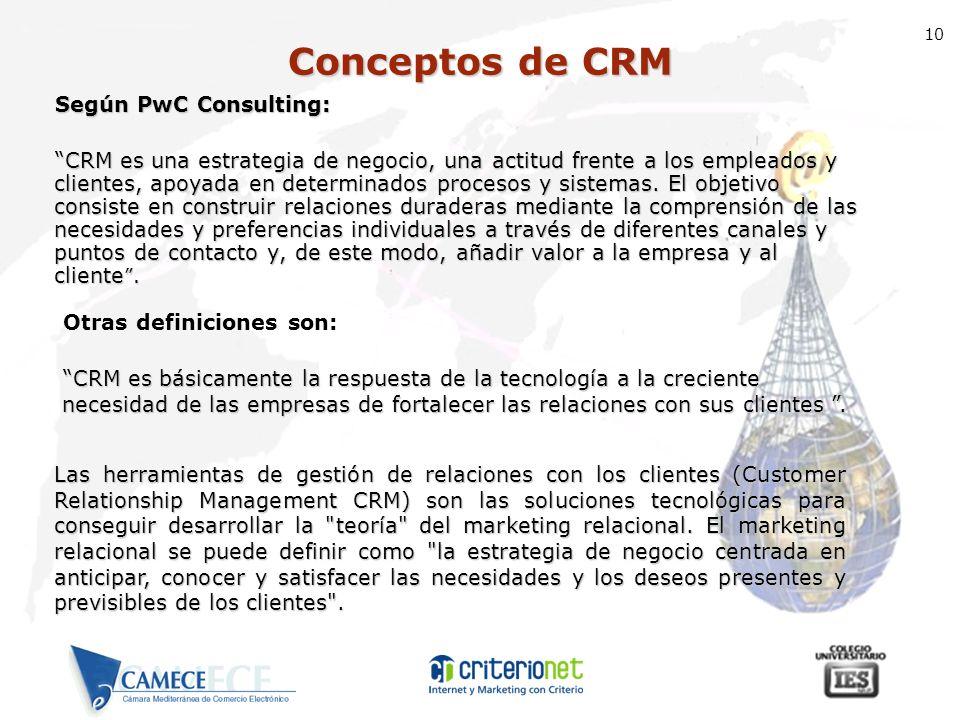10 Según PwC Consulting: CRM es una estrategia de negocio, una actitud frente a los empleados y clientes, apoyada en determinados procesos y sistemas.