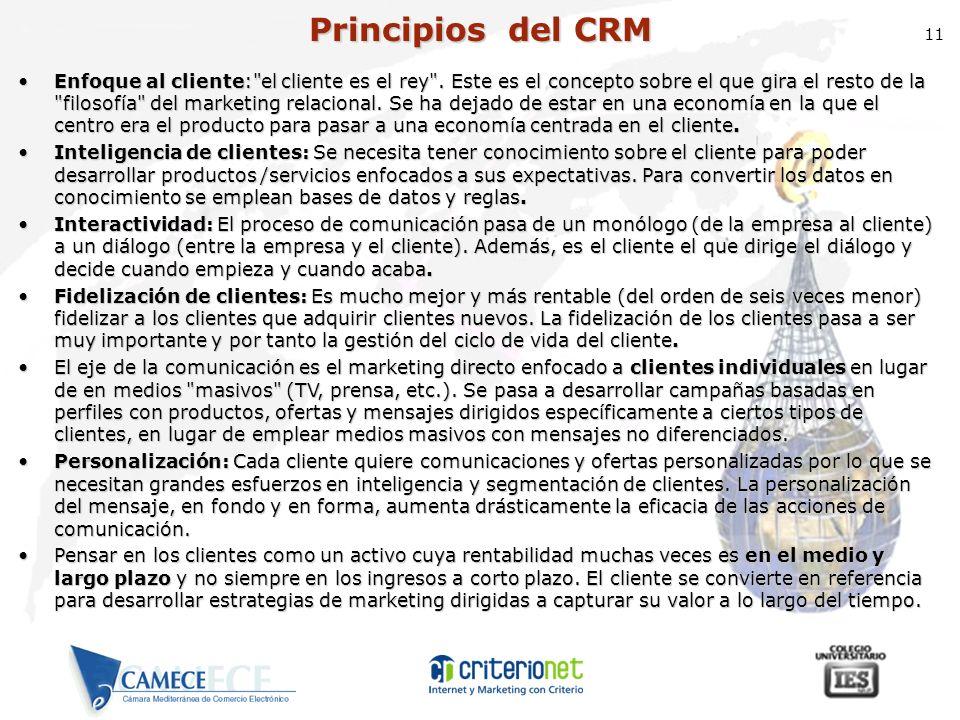 11 Principios del CRM Enfoque al cliente: