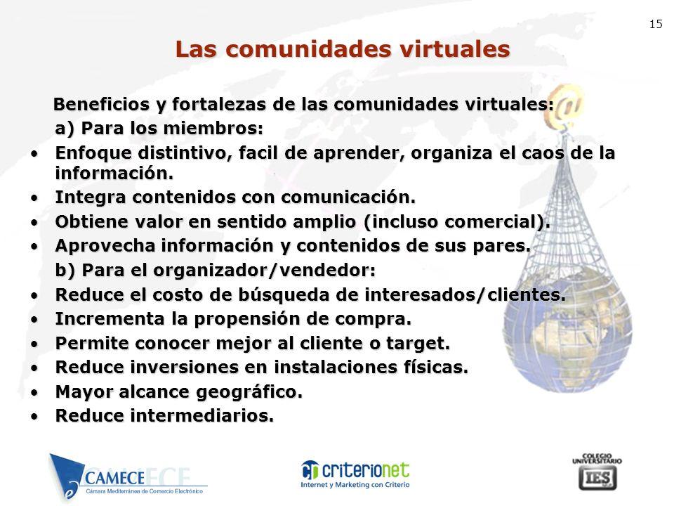 15 Las comunidades virtuales Beneficios y fortalezas de las comunidades virtuales: Beneficios y fortalezas de las comunidades virtuales: a) Para los m