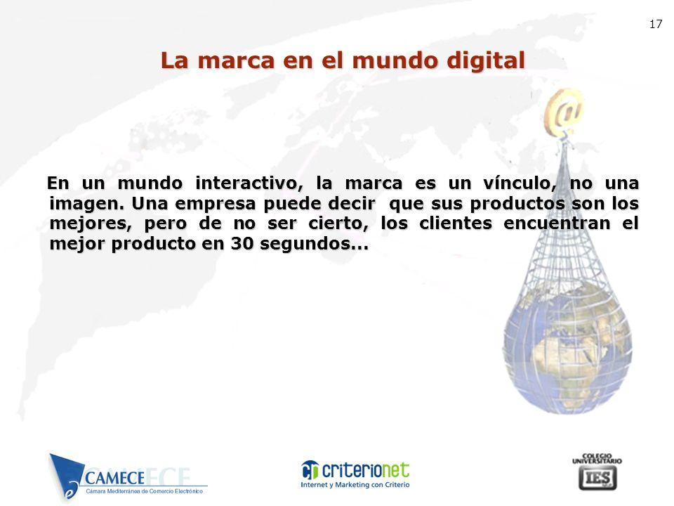 17 La marca en el mundo digital En un mundo interactivo, la marca es un vínculo, no una imagen. Una empresa puede decir que sus productos son los mejo