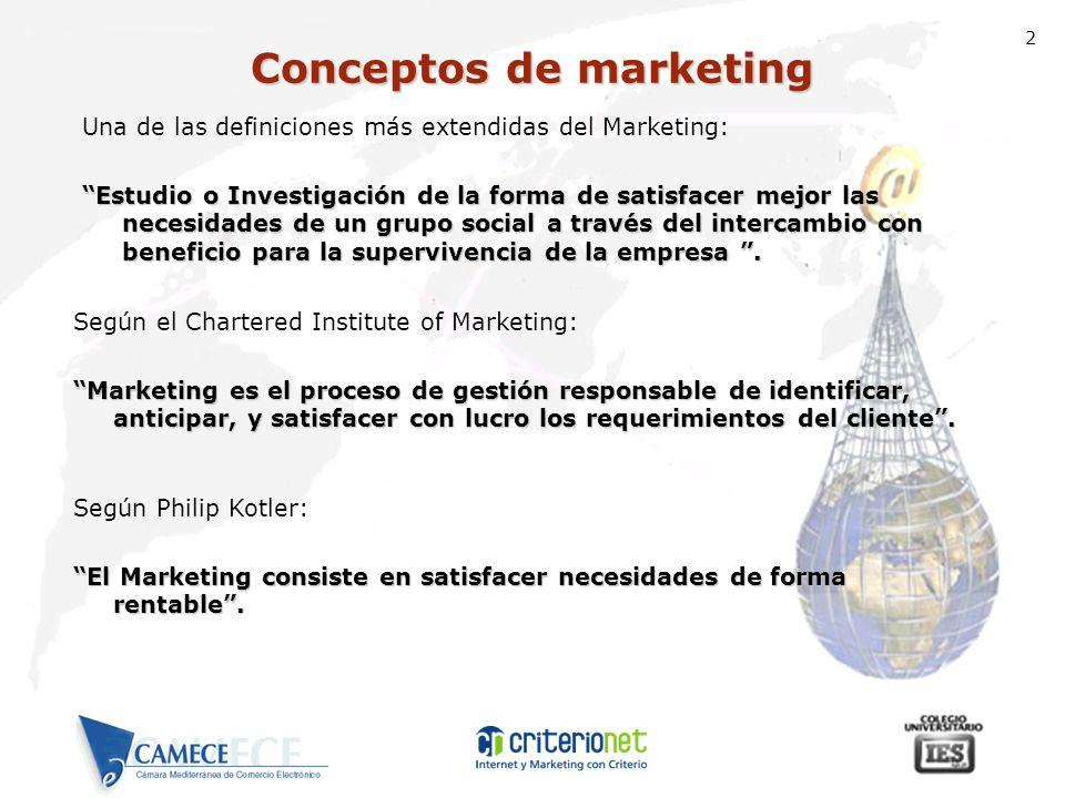 2 Una de las definiciones más extendidas del Marketing: Estudio o Investigación de la forma de satisfacer mejor las necesidades de un grupo social a t