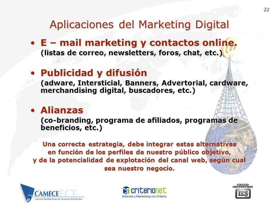 22 Aplicaciones del Marketing Digital E – mail marketing y contactos online.E – mail marketing y contactos online. (listas de correo, newsletters, for