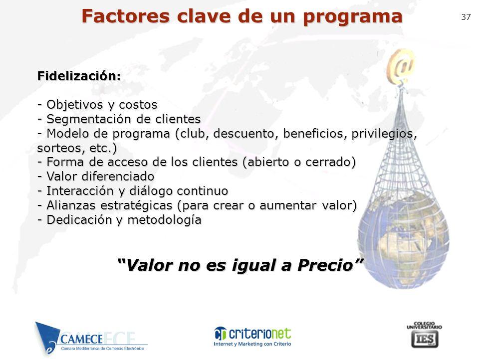 37 Factores clave de un programa Fidelización: - Objetivos y costos - Segmentación de clientes odelo de programa (club, descuento, beneficios, privile
