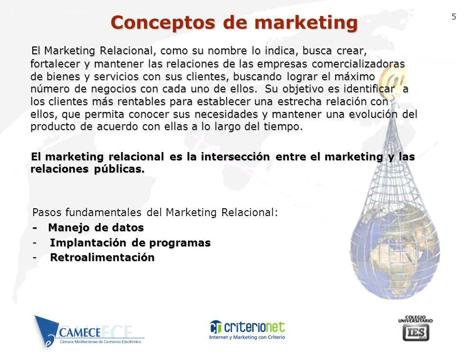 5 El Marketing Relacional, como su nombre lo indica, busca crear, fortalecer y mantener las relaciones de las empresas comercializadoras de bienes y s