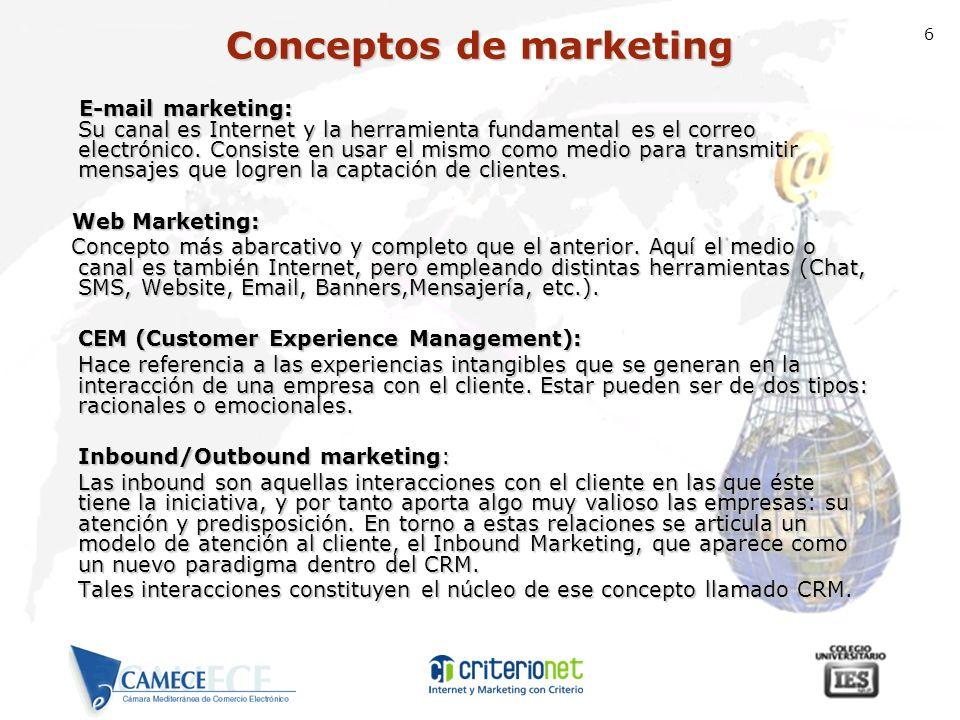 6 E-mail marketing: Su canal es Internet y la herramienta fundamental es el correo electrónico. Consiste en usar el mismo como medio para transmitir m