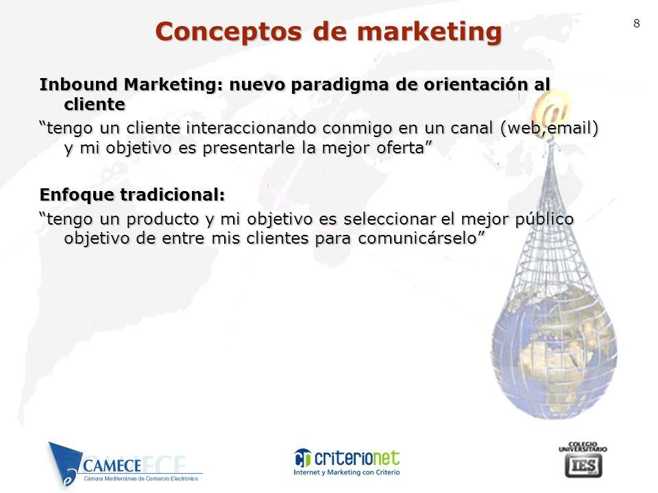 8 Inbound Marketing: nuevo paradigma de orientación al cliente tengo un cliente interaccionando conmigo en un canal (web,email) y mi objetivo es prese