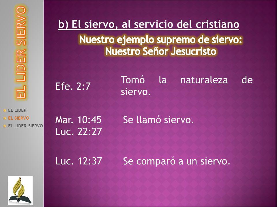 EL LIDER EL SIERVO EL LIDER-SIERVO b) El siervo, al servicio del cristiano Efe. 2:7 Tomó la naturaleza de siervo. Mar. 10:45 Luc. 22:27 Se llamó sierv