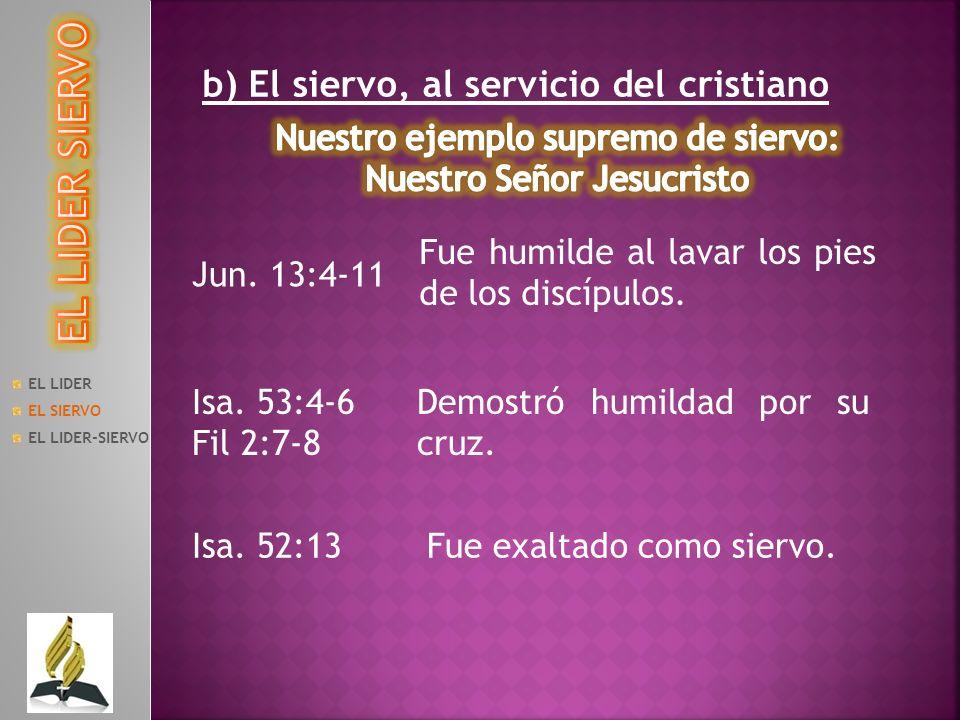 EL LIDER EL SIERVO EL LIDER-SIERVO b) El siervo, al servicio del cristiano Jun. 13:4-11 Fue humilde al lavar los pies de los discípulos. Isa. 53:4-6 F