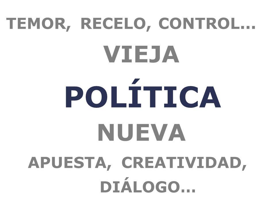 POLÍTICA VIEJA TEMOR,RECELO,CONTROL... NUEVA APUESTA,CREATIVIDAD, DIÁLOGO…