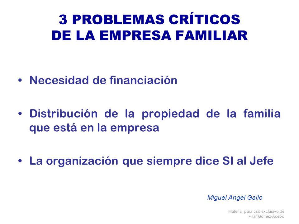 Material para uso exclusivo de Pilar Gómez-Acebo 3 PROBLEMAS CRÍTICOS DE LA EMPRESA FAMILIAR Necesidad de financiación Distribución de la propiedad de