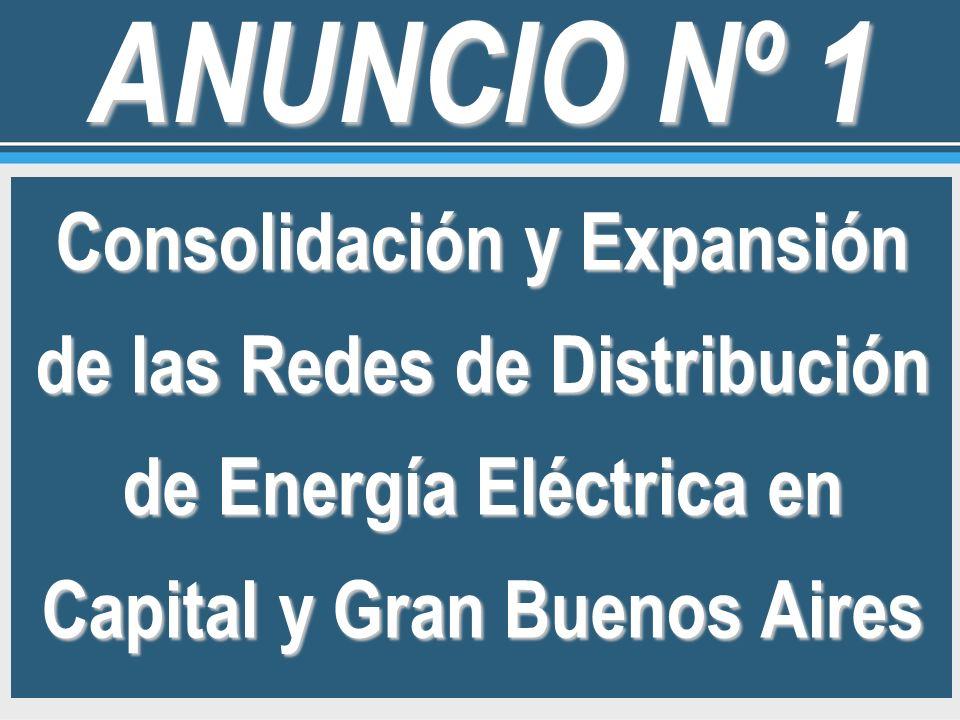 Consolidación y Expansión de las Redes de Distribución de Energía Eléctrica en Capital y Gran Buenos Aires ANUNCIO Nº 1