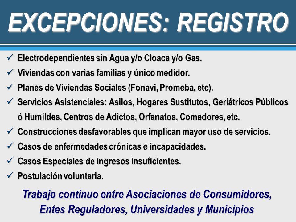 EXCEPCIONES: REGISTRO Electrodependientes sin Agua y/o Cloaca y/o Gas. Electrodependientes sin Agua y/o Cloaca y/o Gas. Viviendas con varias familias