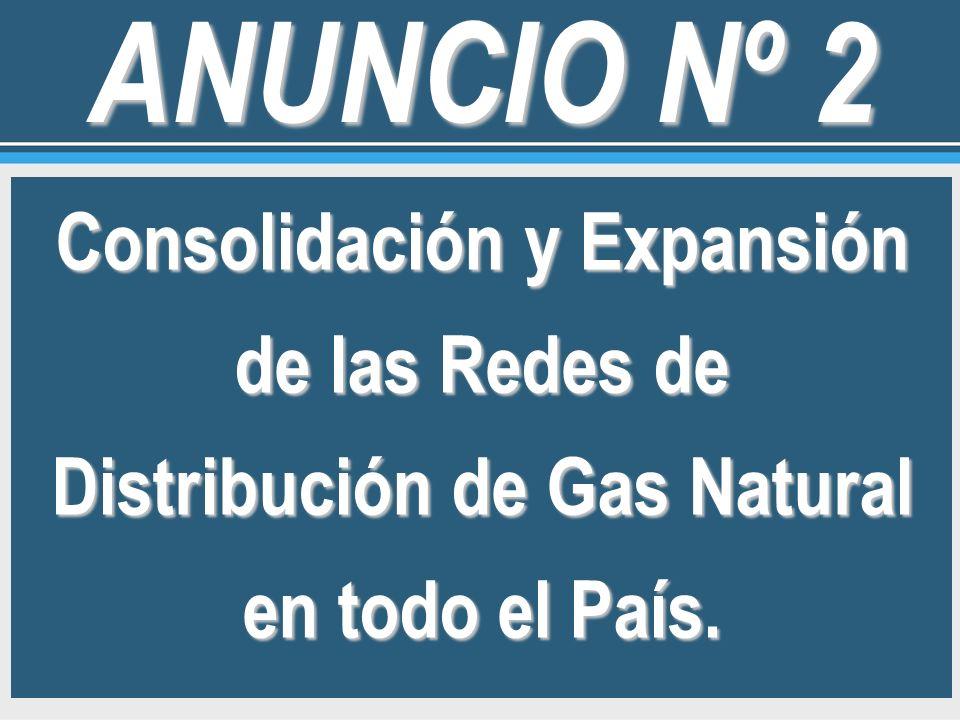 Consolidación y Expansión de las Redes de Distribución de Gas Natural en todo el País. ANUNCIO Nº 2