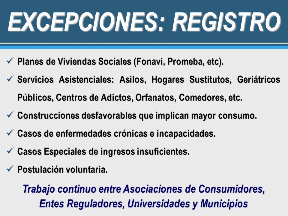 EXCEPCIONES: REGISTRO Planes de Viviendas Sociales (Fonavi, Promeba, etc). Planes de Viviendas Sociales (Fonavi, Promeba, etc). Servicios Asistenciale