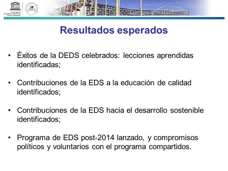 Resultados esperados Éxitos de la DEDS celebrados: lecciones aprendidas identificadas; Contribuciones de la EDS a la educación de calidad identificado