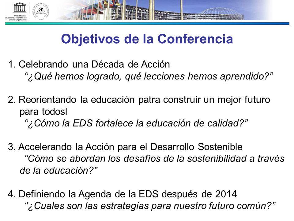 Objetivos de la Conferencia 1. Celebrando una Década de Acción ¿Qué hemos logrado, qué lecciones hemos aprendido? 2. Reorientando la educación patra c