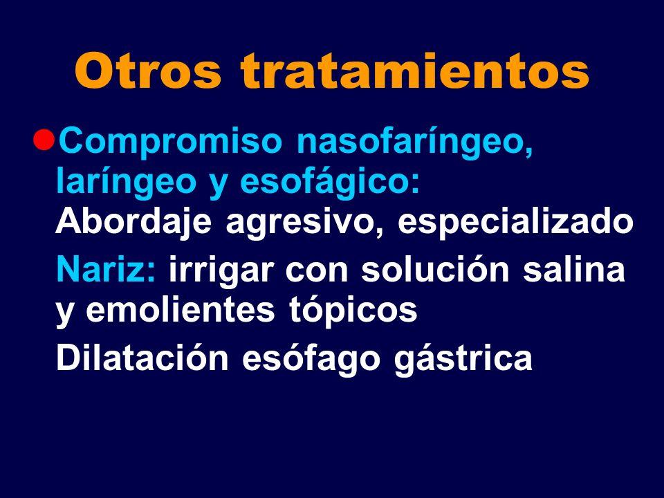 Otros tratamientos Compromiso nasofaríngeo, laríngeo y esofágico: Abordaje agresivo, especializado Nariz: irrigar con solución salina y emolientes tóp