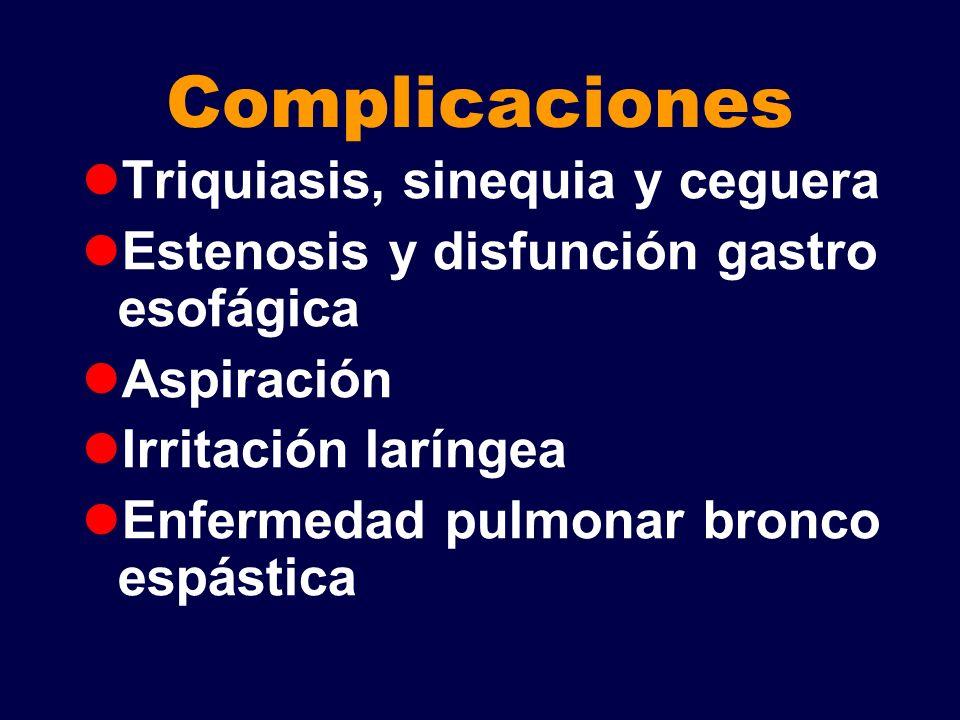 Complicaciones Triquiasis, sinequia y ceguera Estenosis y disfunción gastro esofágica Aspiración Irritación laríngea Enfermedad pulmonar bronco espást
