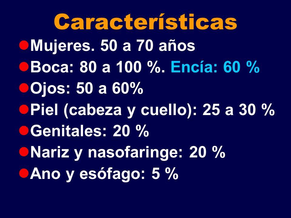 Características Mujeres. 50 a 70 años Boca: 80 a 100 %. Encía: 60 % Ojos: 50 a 60% Piel (cabeza y cuello): 25 a 30 % Genitales: 20 % Nariz y nasofarin