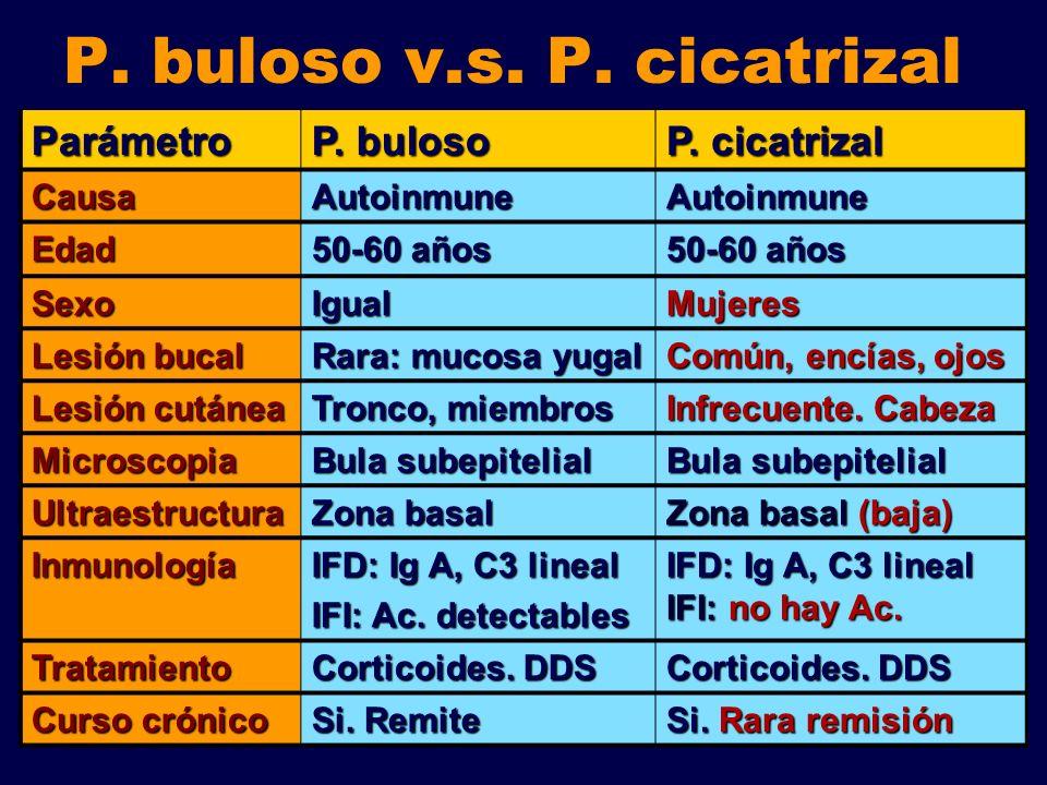 P. buloso v.s. P. cicatrizalParámetro P. buloso P. cicatrizal CausaAutoinmuneAutoinmune Edad 50-60 años SexoIgualMujeres Lesión bucal Rara: mucosa yug