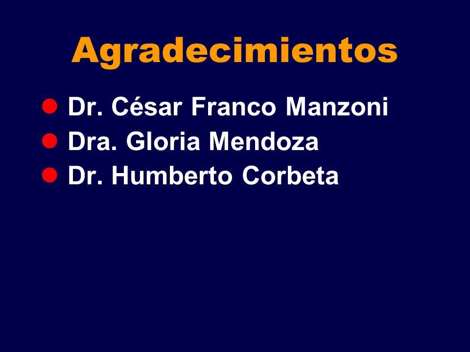 Agradecimientos Dr. César Franco Manzoni Dra. Gloria Mendoza Dr. Humberto Corbeta
