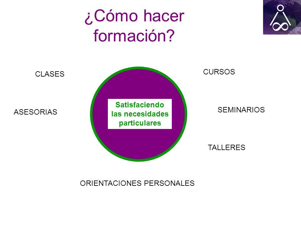¿Cómo hacer formación? CURSOS SEMINARIOS TALLERES CLASES ORIENTACIONES PERSONALES ASESORIAS Satisfaciendo las necesidades particulares