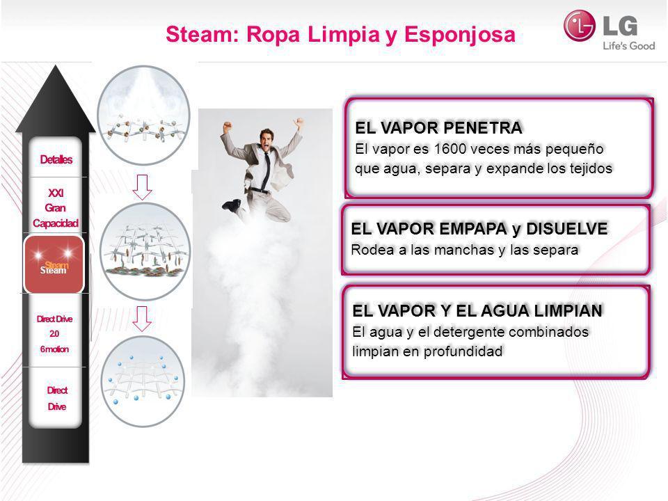 Steam: Ropa Limpia y Esponjosa EL VAPOR EMPAPA y DISUELVE Rodea a las manchas y las separa EL VAPOR EMPAPA y DISUELVE Rodea a las manchas y las separa