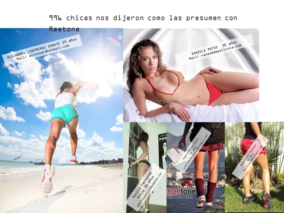 996 chicas nos dijeron como las presumen con Reetone ALEJANDRA CONTRERAS ZARATE 29 años Mail: alconzar@hotmail.com DANIELA MATUS 30 años Mail: ranas@d