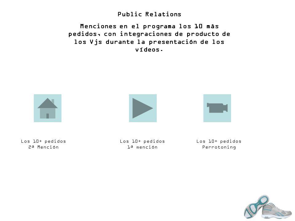 Public Relations Menciones en el programa los 10 más pedidos, con integraciones de producto de los Vjs durante la presentación de los vídeos. Los 10+