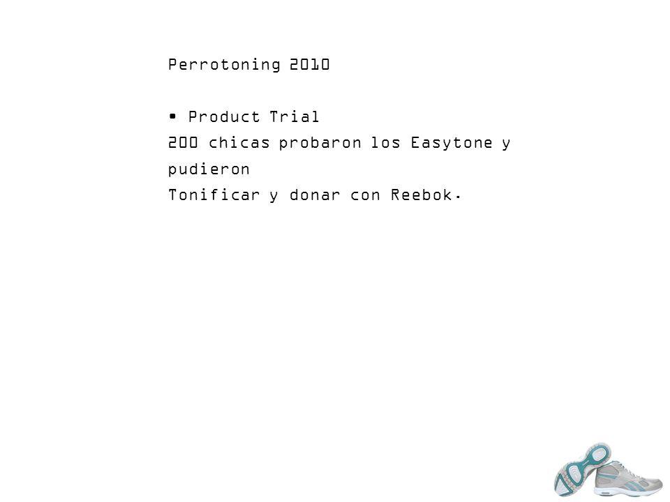 Perrotoning 2010 Product Trial 200 chicas probaron los Easytone y pudieron Tonificar y donar con Reebok.