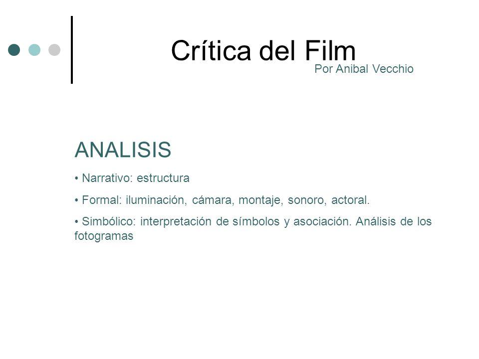 Crítica del Film Narrativo: estructura Formal: iluminación, cámara, montaje, sonoro, actoral. Simbólico: interpretación de símbolos y asociación. Anál