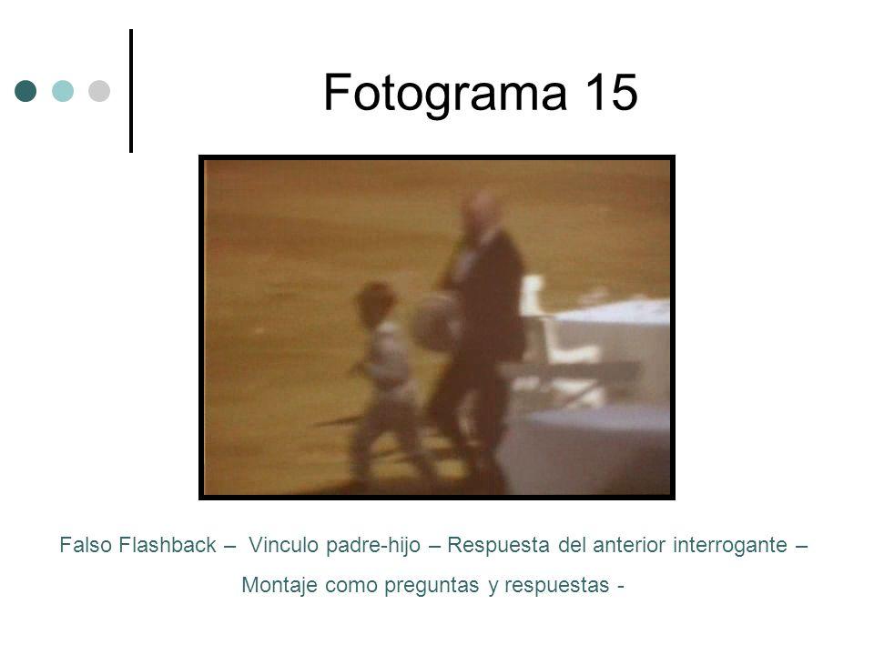 Fotograma 15 Falso Flashback – Vinculo padre-hijo – Respuesta del anterior interrogante – Montaje como preguntas y respuestas -