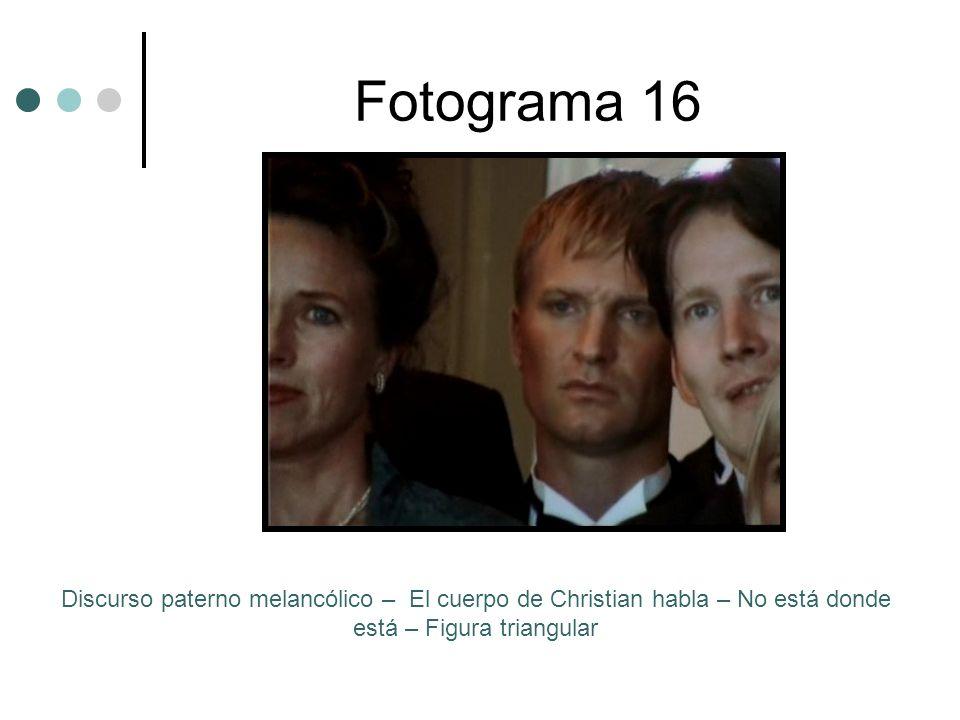 Fotograma 16 Discurso paterno melancólico – El cuerpo de Christian habla – No está donde está – Figura triangular