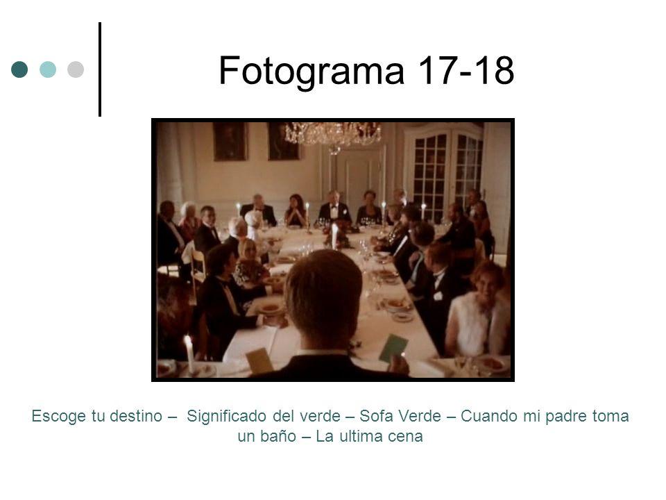 Fotograma 17-18 Escoge tu destino – Significado del verde – Sofa Verde – Cuando mi padre toma un baño – La ultima cena