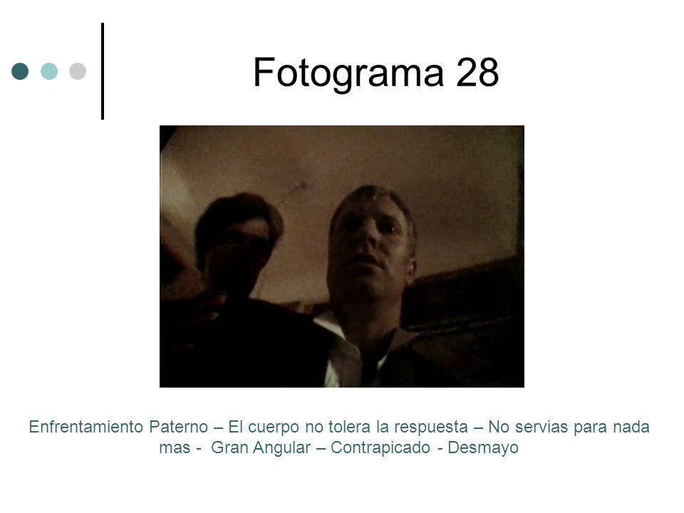 Fotograma 28 Enfrentamiento Paterno – El cuerpo no tolera la respuesta – No servias para nada mas - Gran Angular – Contrapicado - Desmayo