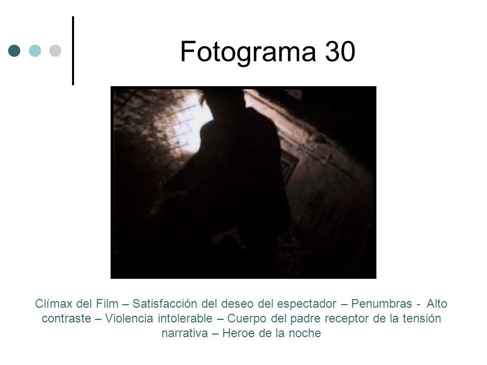 Fotograma 30 Clímax del Film – Satisfacción del deseo del espectador – Penumbras - Alto contraste – Violencia intolerable – Cuerpo del padre receptor