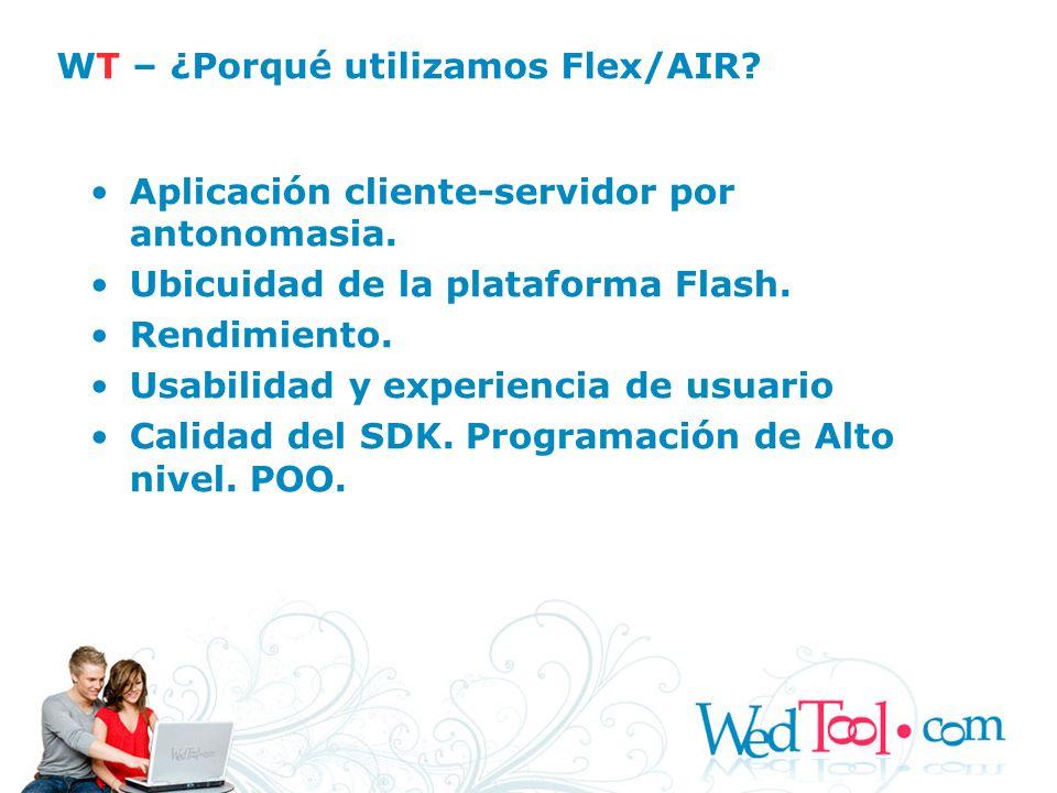 Aplicación cliente-servidor por antonomasia. Ubicuidad de la plataforma Flash. Rendimiento. Usabilidad y experiencia de usuario Calidad del SDK. Progr
