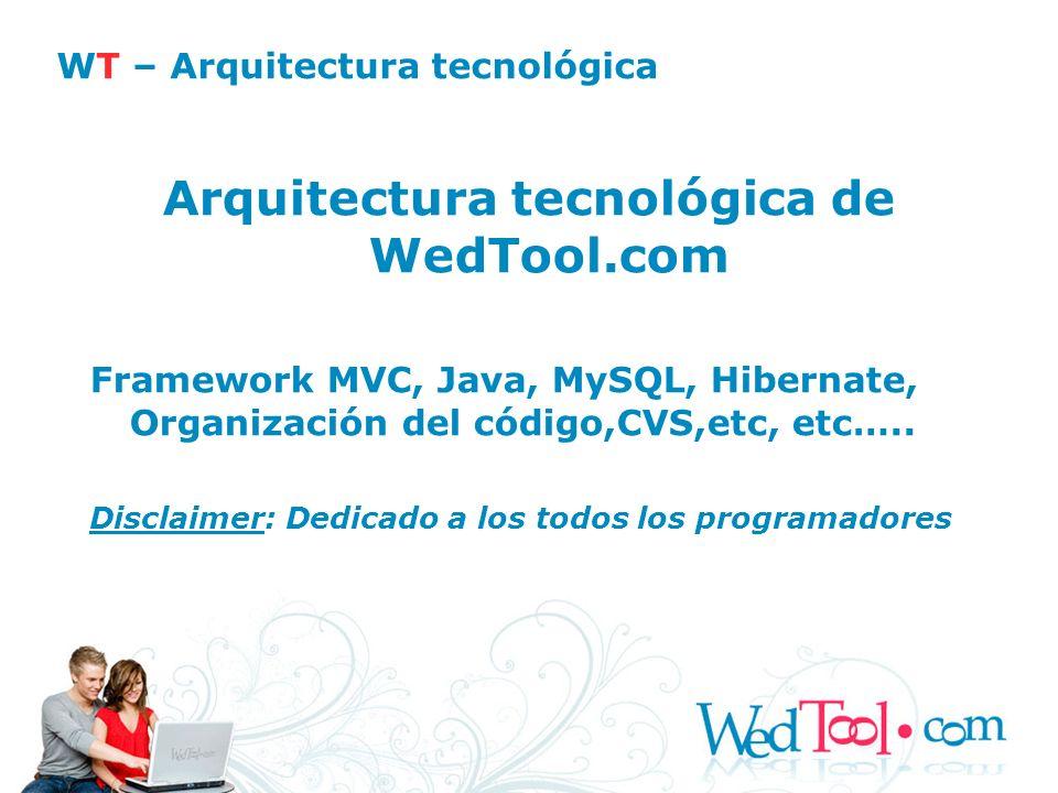 Arquitectura tecnológica de WedTool.com Framework MVC, Java, MySQL, Hibernate, Organización del código,CVS,etc, etc….. Disclaimer: Dedicado a los todo