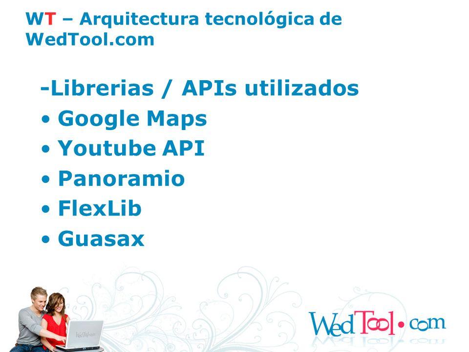 -Librerias / APIs utilizados Google Maps Youtube API Panoramio FlexLib Guasax WT – Arquitectura tecnológica de WedTool.com