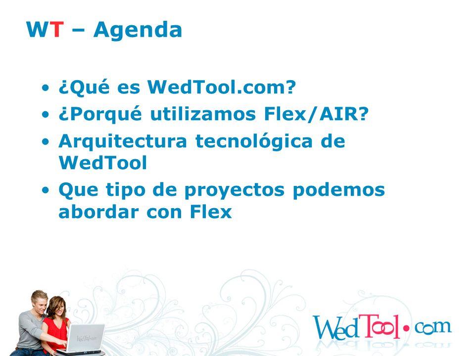 ¿Qué es WedTool.com? ¿Porqué utilizamos Flex/AIR? Arquitectura tecnológica de WedTool Que tipo de proyectos podemos abordar con Flex WT – Agenda