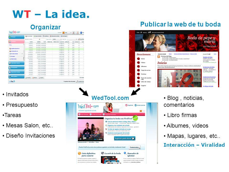 WT – La idea. WedTool.com Organizar Publicar la web de tu boda Invitados Presupuesto Tareas Mesas Salon, etc.. Diseño Invitaciones Blog, noticias, com