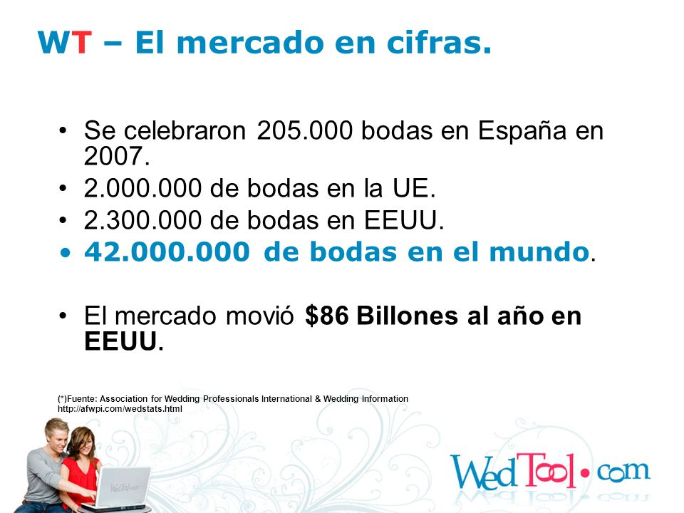 Se celebraron 205.000 bodas en España en 2007. 2.000.000 de bodas en la UE. 2.300.000 de bodas en EEUU. 42.000.000 de bodas en el mundo. El mercado mo
