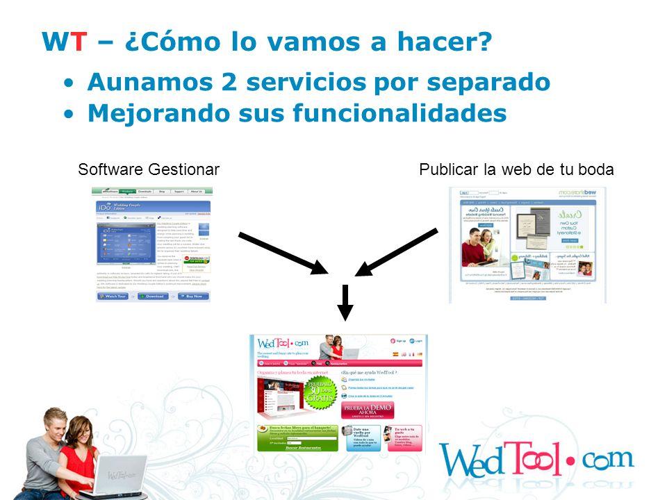 WT – ¿Cómo lo vamos a hacer? Aunamos 2 servicios por separado Mejorando sus funcionalidades Software GestionarPublicar la web de tu boda