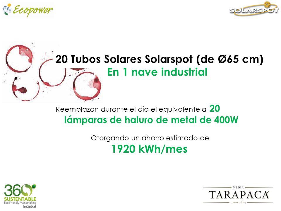Reemplazan durante el día el equivalente a 20 lámparas de haluro de metal de 400W Otorgando un ahorro estimado de 1920 kWh/mes 20 Tubos Solares Solars
