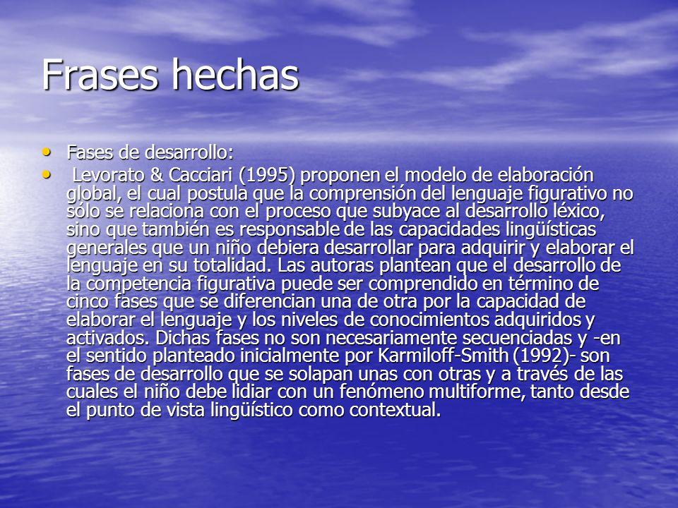 Frases hechas Fases de desarrollo: Fases de desarrollo: Levorato & Cacciari (1995) proponen el modelo de elaboración global, el cual postula que la co
