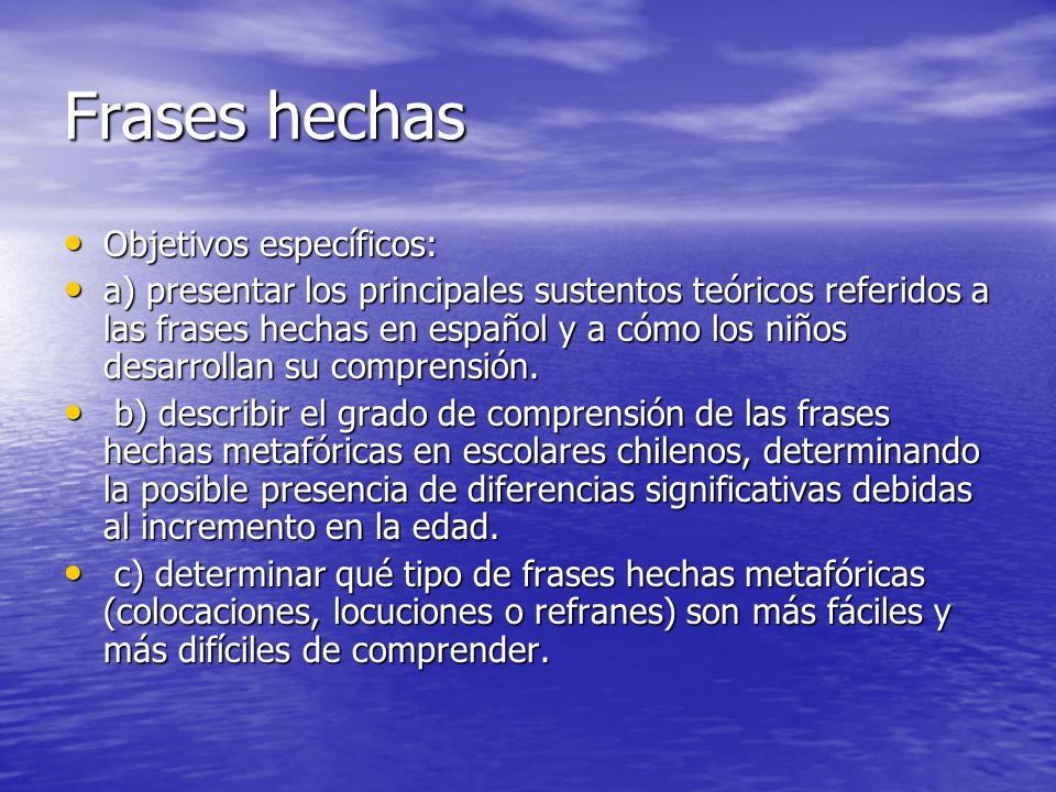Frases hechas Objetivos específicos: Objetivos específicos: a) presentar los principales sustentos teóricos referidos a las frases hechas en español y