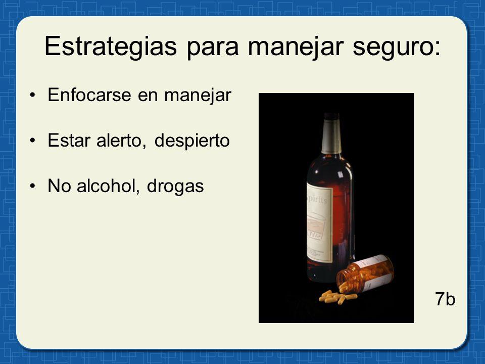 Estrategias para manejar seguro: Enfocarse en manejar Estar alerto, despierto No alcohol, drogas 7b