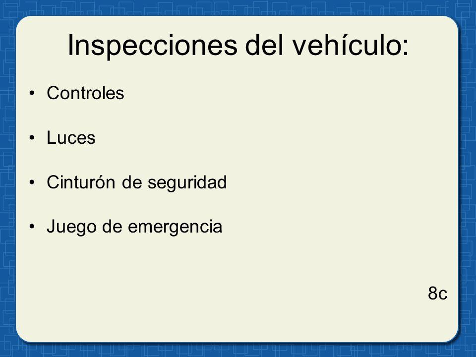 Inspecciones del vehículo: Controles Luces Cinturón de seguridad Juego de emergencia 8c