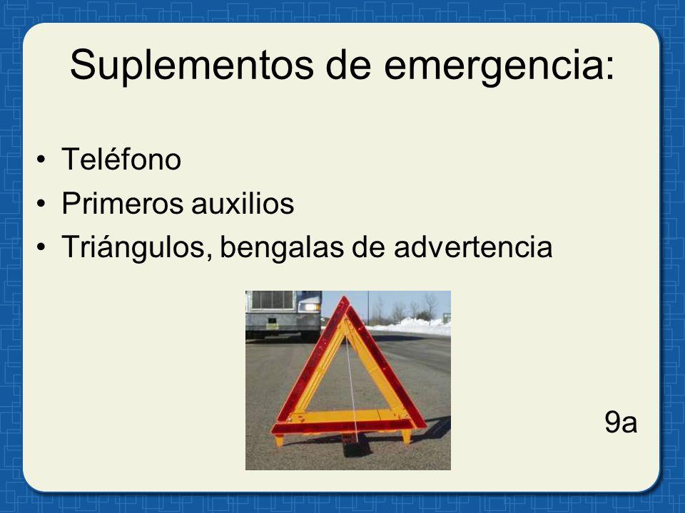 Suplementos de emergencia: Teléfono Primeros auxilios Triángulos, bengalas de advertencia 9a